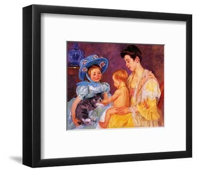 Children Playing with a Cat-Mary Cassatt-Framed Art Print