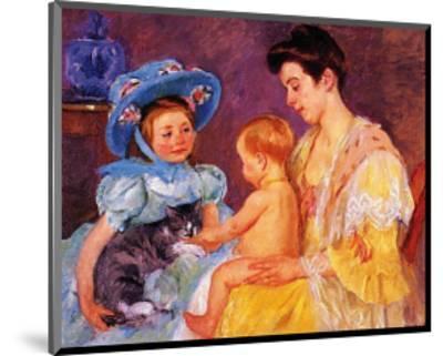 Children Playing with a Cat-Mary Cassatt-Mounted Art Print