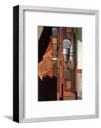 Glasses, Newspaper, and Bottle of Wine-Juan Gris-Framed Art Print