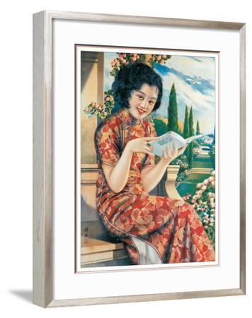 Woman Reading Book--Framed Giclee Print