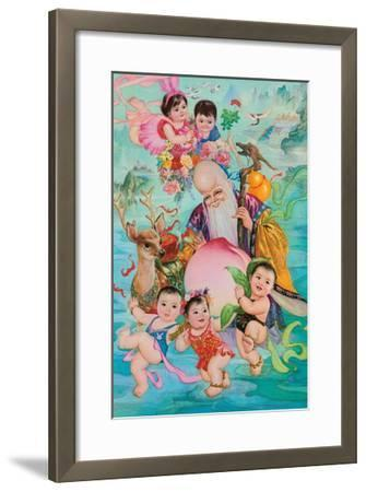 Old Man and Five Babies--Framed Giclee Print