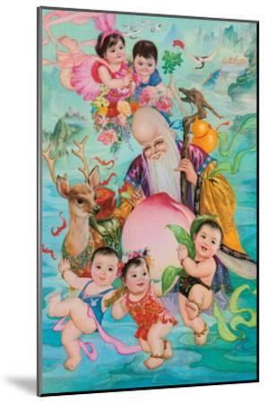 Old Man and Five Babies--Mounted Giclee Print