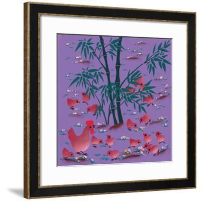 Rooster and Chicks--Framed Giclee Print