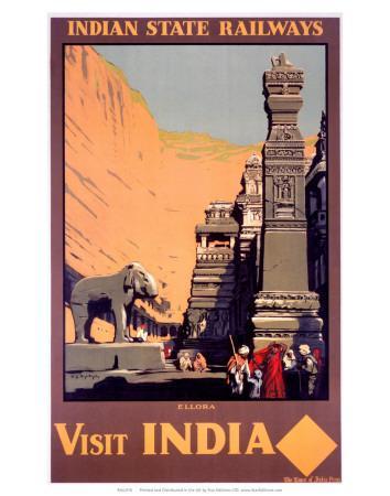 Indian State Railways: Visit India--Framed Art Print