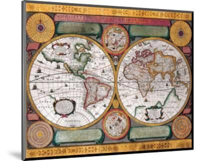 Antique Map, Terre Universelle, 1594-Petro Plancio-Mounted Premium Giclee Print
