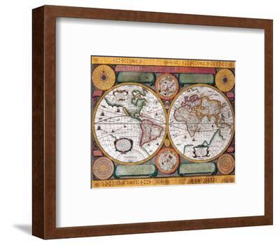 Antique Map, Terre Universelle, 1594-Petro Plancio-Framed Premium Giclee Print