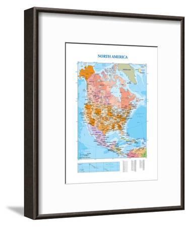 Map of North America--Framed Premium Giclee Print
