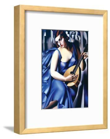 Femme en Bleu Avec Guitare-Tamara de Lempicka-Framed Premium Giclee Print