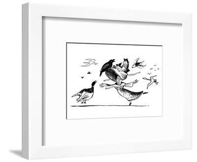There Was A Young Lady Whose Bonnet, Came Untied When The Birds Sate Upon I-Edward Lear-Framed Premium Giclee Print