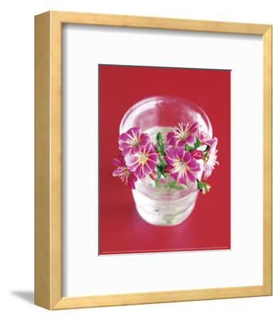 Pink Flowers On Red-Amelie Vuillon-Framed Art Print
