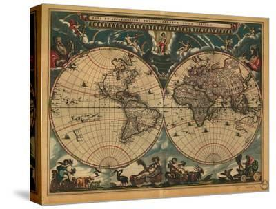 World Map, c.1664-Joan Blaeu-Stretched Canvas Print