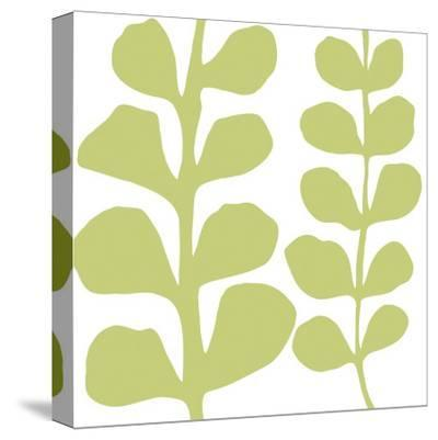 Green Fern on White-Denise Duplock-Stretched Canvas Print