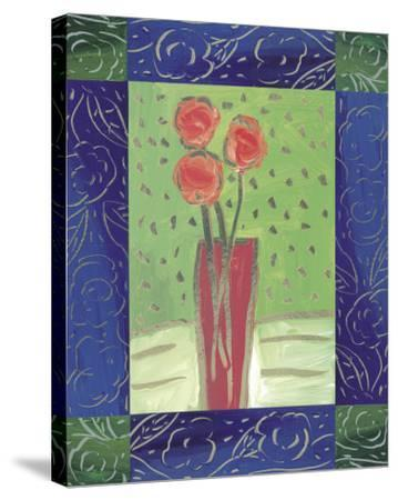 Orange Flowers on Green-Hussey-Stretched Canvas Print