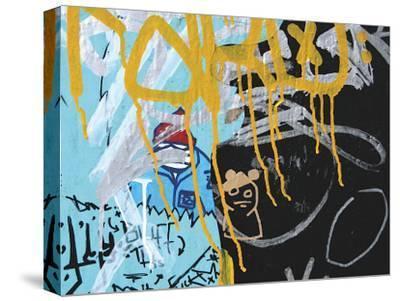Yellow Aqua Graffiti II-Jenny Kraft-Stretched Canvas Print