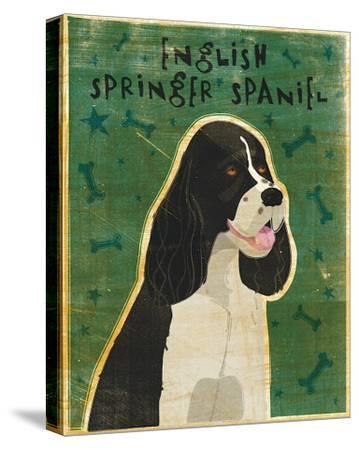 English Springer Spaniel (black and white)-John Golden-Stretched Canvas Print
