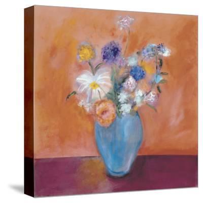 Blue Vase with Flowers-Nancy Ortenstone-Stretched Canvas Print
