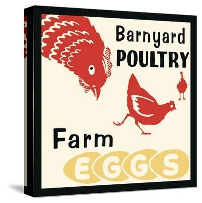 Barnyard Poultry-Farm Eggs--Stretched Canvas Print
