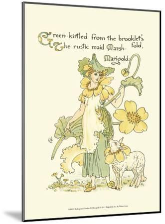 Shakespeare's Garden IX (Marigold)-Walter Crane-Mounted Art Print