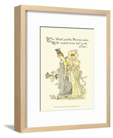 Shakespeare's Garden XI (Violet & Primrose)-Walter Crane-Framed Art Print