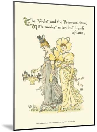 Shakespeare's Garden XI (Violet & Primrose)-Walter Crane-Mounted Art Print