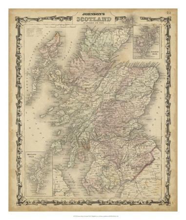Johnson's Map of Scotland--Giclee Print