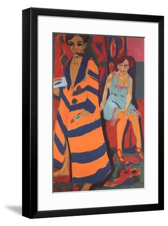Self-Portrait with Model-Ernst Ludwig Kirchner-Framed Art Print