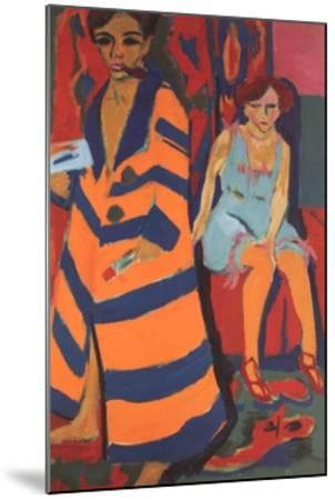 Self-Portrait with Model-Ernst Ludwig Kirchner-Mounted Art Print