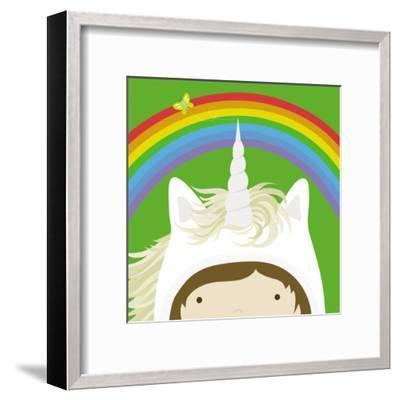 Peek-a-Boo Heroes: Unicorn-Yuko Lau-Framed Art Print