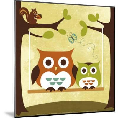 Two Owls on Swing-Nancy Lee-Mounted Art Print