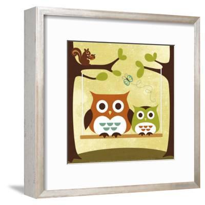 Two Owls on Swing-Nancy Lee-Framed Art Print