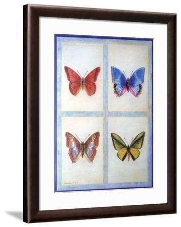 Blue Butterflies-Lewman Zaid-Framed Art Print