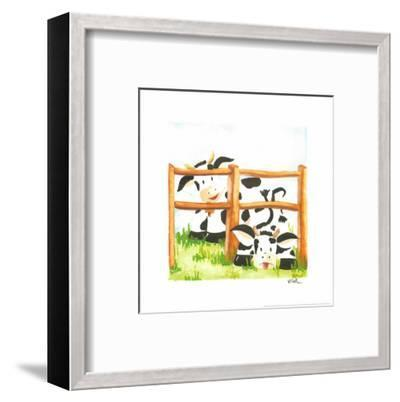 Littles Cows And Fences-Urpina-Framed Art Print