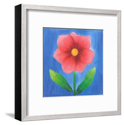 Pink Flower With Leaves-Urpina-Framed Art Print