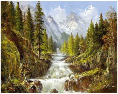 Waterfall In The Carpathians-Helmut Glassl-Framed Art Print