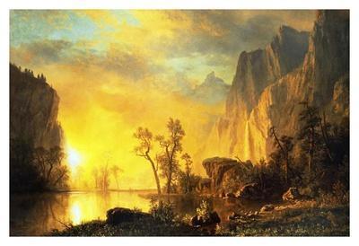 Sunset in the Rockies-Albert Bierstadt-Art Print