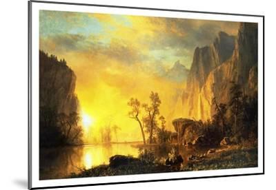 Sunset in the Rockies-Albert Bierstadt-Mounted Art Print