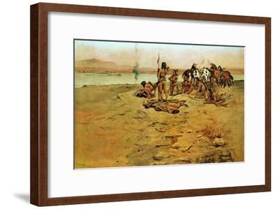 The Signal Fire-Charles Marion Russell-Framed Art Print