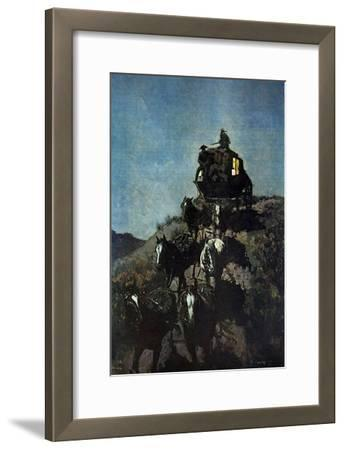 The Old Stage Coach of The Plains-Frederic Sackrider Remington-Framed Art Print