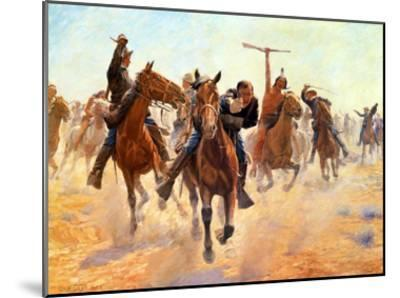 Breaking Through The Lines-Charles Schreyvogel-Mounted Art Print
