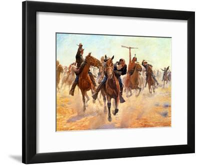 Breaking Through The Lines-Charles Schreyvogel-Framed Art Print