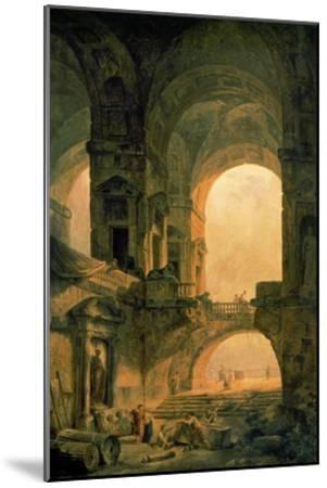 Vaulted Arches Ruin-Hubert Robert-Mounted Art Print