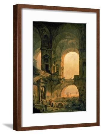 Vaulted Arches Ruin-Hubert Robert-Framed Art Print