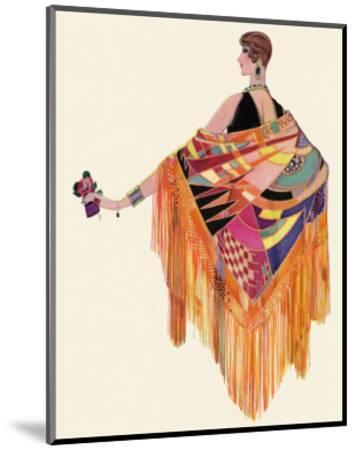 Art Deco Lady in a Colourful Dress--Mounted Giclee Print