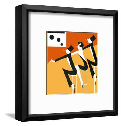 Art Deco Smartly Dressed People Smoking at a Bar.--Framed Giclee Print