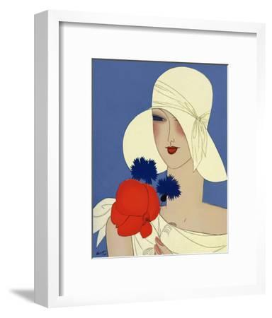Art Deco Lady with a Large Red Flower--Framed Giclee Print