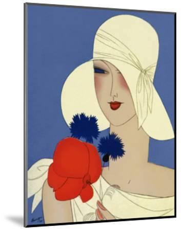 Art Deco Lady with a Large Red Flower--Mounted Giclee Print