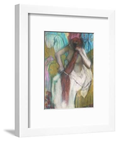 Women Combing Her Hair-Edgar Degas-Framed Art Print