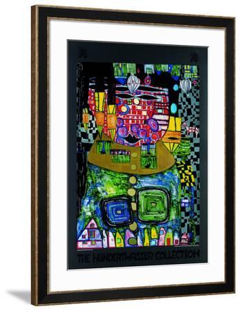 Antipode King-Friedensreich Hundertwasser-Framed Art Print