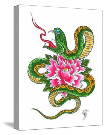 Snake and Flower-Christian Nguyen-Stretched Canvas Print
