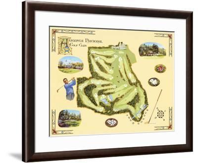 Golf Course Map, Augusta-Bernard Willington-Framed Art Print